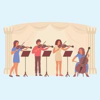 aprender música diseño plano composición vector ilustración