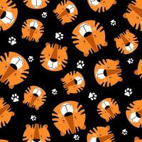 Funny head tigers and footprints. Seamless kids pattern. vector