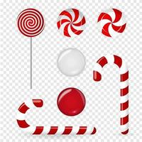 Sweet candy of various forms cane, circle on stick and flavors vector