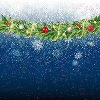 Fir Branches with Snow. Merry Christmas and New Year vector