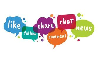 Ilustración de vector de colorido hablar burbuja de redes sociales.