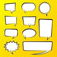 Pop art vector illustrations of blank chat bubbles.