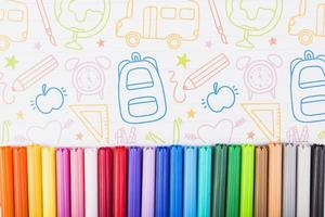Multicolored markers painted paper. Resolution and high quality beautiful photo