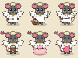 Vector illustration of cute Mouse with Angel costume