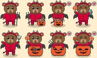 baer lindo conjunto de halloween diablo vector