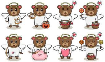 Cute Bear angel cartoon vector