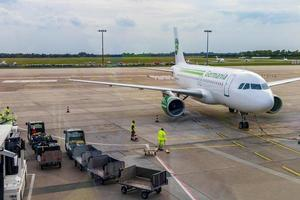 Bremen, Germany, 2021 - Airplane at the Bremen Airport photo