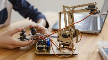 Child making robot close up. Resolution and high quality beautiful photo
