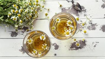 tazas de té de manzanilla vista superior 3. resolución y hermosa foto de alta calidad