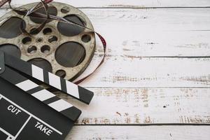 carrete de cine con claqueta. resolución y hermosa foto de alta calidad