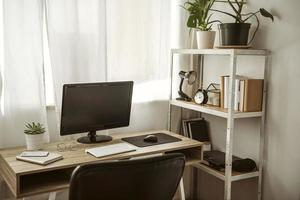 Home office with computer shelf. Resolution and high quality beautiful photo