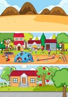 Different background with doodle kids cartoon character vector