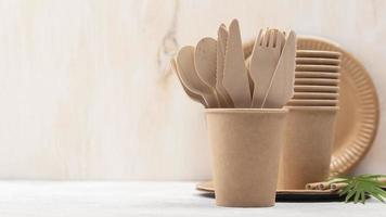 Eco friendly disposable tableware cardboard front view. Resolution and high quality beautiful photo