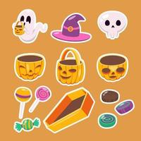 Halloween Trick or Treat Sticker Set vector