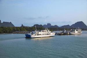 Cruise and sunset in Thailand sea photo