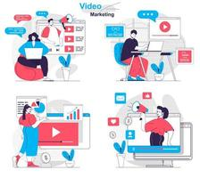 Video marketing concept set people isolated scenes in flat design vector