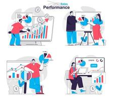 Sales performance concept set people isolated scenes in flat design vector
