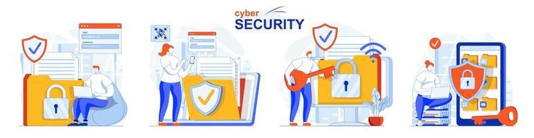 Cyber security concept set people isolated scenes in flat design vector