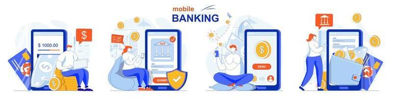 Online banking concept set people isolated scenes in flat design vector