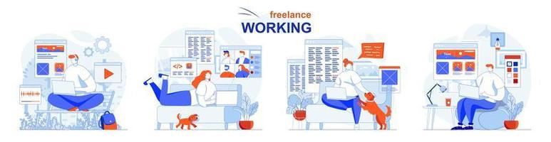 Freelance working concept set people isolated scenes in flat design vector