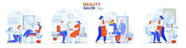 Beauty salon concept set people isolated scenes in flat design vector