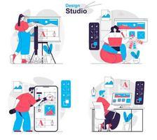 Design studio concept set people isolated scenes in flat design vector