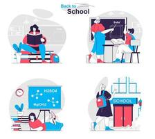Back to school concept set people isolated scenes in flat design vector