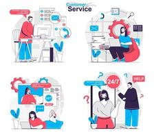 Customer service concept set people isolated scenes in flat design vector