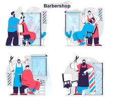 Barbershop concept set people isolated scenes in flat design vector