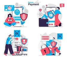 Secure payment concept set people isolated scenes in flat design vector