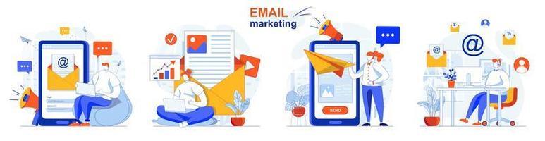 El concepto de marketing por correo electrónico establece escenas aisladas de personas en diseño plano vector