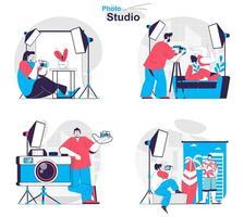Photo studio concept set people isolated scenes in flat design vector