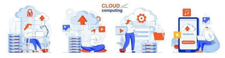 Cloud computing concept set people isolated scenes in flat design vector
