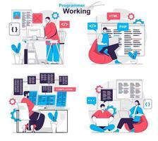 Programmer working concept set people isolated scenes in flat design vector
