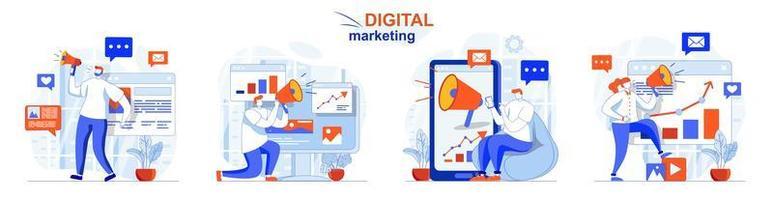 El concepto de marketing digital establece escenas aisladas de personas en diseño plano vector