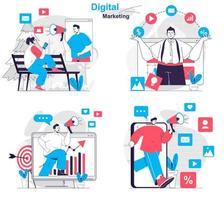Digital marketing concept set people isolated scenes in flat design vector