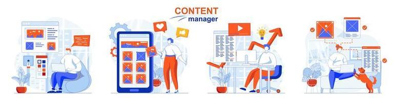Content manager concept set people isolated scenes in flat design vector