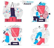 Business award concept set people isolated scenes in flat design vector