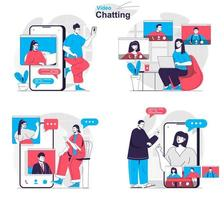 Video chatting concept set people isolated scenes in flat design vector