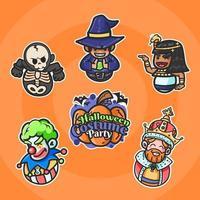 Unique Costume Halloween Sticker Pack vector