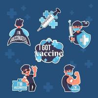Proud after Vaccine Sticker Pack vector