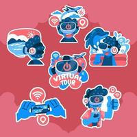 Virtual Holiday at Home Sticker Pack vector