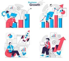 Business growth concept set people isolated scenes in flat design vector