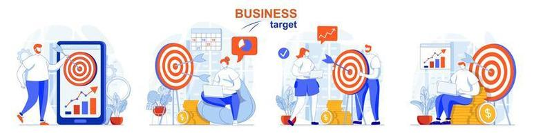 Business target concept set people isolated scenes in flat design vector