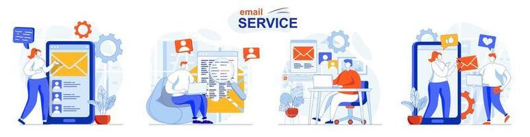 El concepto de servicio de correo electrónico establece escenas aisladas de personas en diseño plano vector