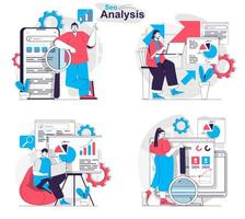 Seo analysis concept set people isolated scenes in flat design vector