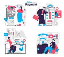 Online payment concept set people isolated scenes in flat design vector