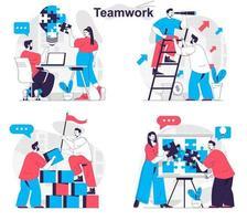 Teamwork concept set people isolated scenes in flat design vector
