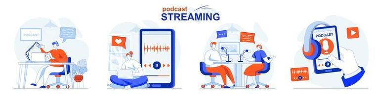 Podcast streaming concept set people isolated scenes in flat design vector