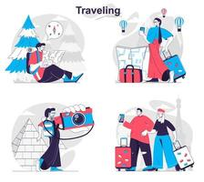 Traveling concept set people isolated scenes in flat design vector